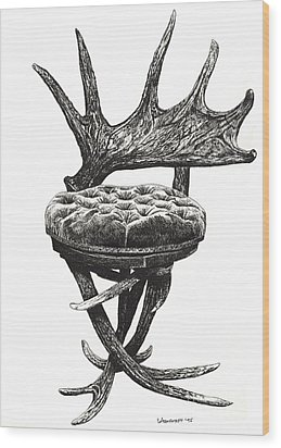 Stag Antlers Chair Wood Print by Adendorff Design