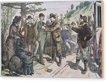 Stagecoach Robbery, 1880s Wood Print by Granger