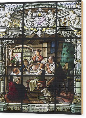 Stained Glass Family Giving Thanks Wood Print by Sally Weigand