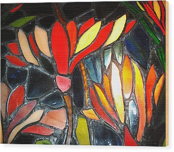 Stained Glass Four Wood Print