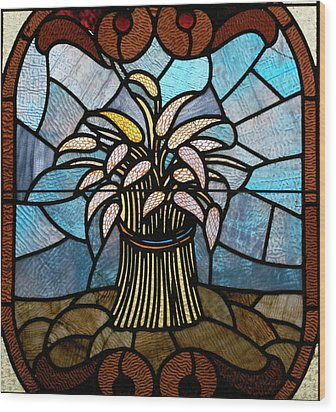 Stained Glass Lc 11 Wood Print by Thomas Woolworth