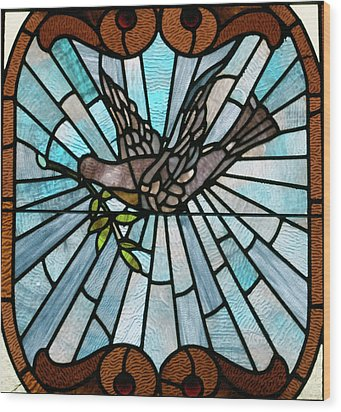 Stained Glass Lc 14 Wood Print by Thomas Woolworth