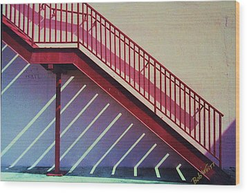 Staircase On A Wall Wood Print