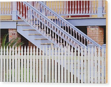 Stairs And White Picket Fence Wood Print by Jeremy Woodhouse