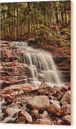 Stairs Falls Wood Print by Heather Applegate