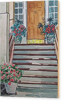 Stairs Sketchbook Project Down My Street Wood Print by Irina Sztukowski