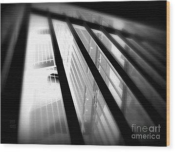 Stairway Black And White Wood Print