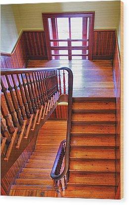 Stairway In Old Naval Hospital Wood Print by Steven Ainsworth