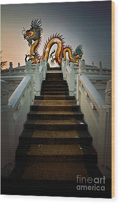 Stairway To The Dragon. Wood Print by Phaitoon Chooti