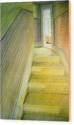 Stairwell In Malden Apartment 1978 Wood Print by Nancy Griswold