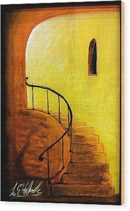 Stairwell Wood Print by Lee Halbrook