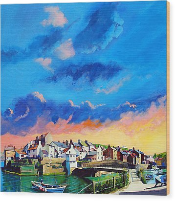 Staithes At Sundown Wood Print by Neil McBride