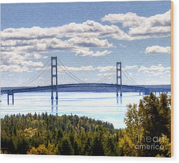 Staits Of Mackinac Wood Print by Anne Raczkowski