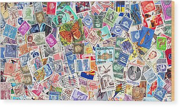Stamp Collection . 2 To 1 Proportion Wood Print by Wingsdomain Art and Photography