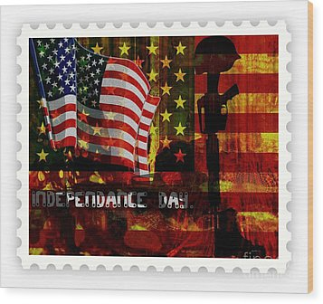 Stamp Your Freedom  Wood Print by Fania Simon