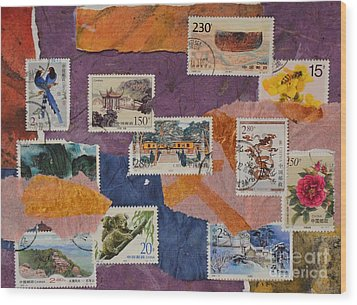 Stamps From China Wood Print by Barbara Tibbets