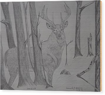 Wood Print featuring the drawing Stand Off by Gerald Strine