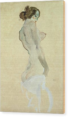 Standing Female Nude Wood Print by Egon Schiele