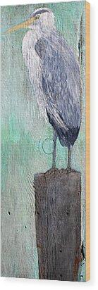Standing Heron Wood Print by Lisa Baack
