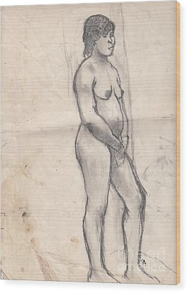 Standing Nude Wood Print by Brian Francis Smith