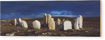 Standing Stones, Blacksod Point, Co Wood Print by The Irish Image Collection