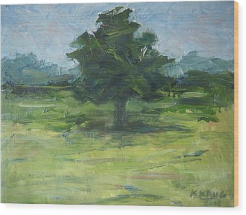 Standing Tree Wood Print by Ken Krug