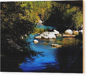 Stanislaus River Wood Print by Helen Carson