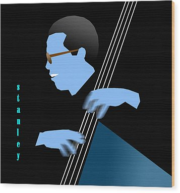 Stanley Clarke Blue Wood Print by Victor Bailey