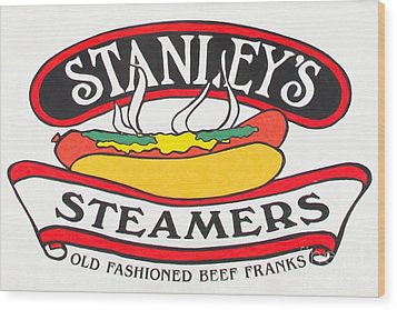 Stanley's Steamers Hot Dog Sign - 5d17929 - Painterly Wood Print by Wingsdomain Art and Photography