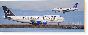 Star Alliance Airlines And United Airlines Jet Airplanes At San Francisco Airport Sfo . Long Cut Wood Print by Wingsdomain Art and Photography