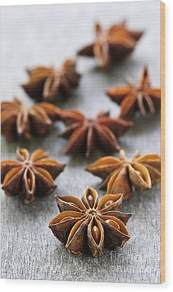 Star Anise Fruit And Seeds Wood Print by Elena Elisseeva