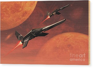 Star Fighters On A Routine Space Patrol Wood Print by Mark Stevenson