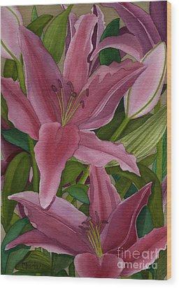 Star Gazer Lilies Wood Print by Vikki Wicks