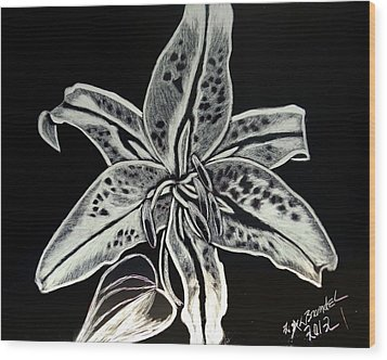 Wood Print featuring the drawing Star Gazer Lily by Lisa Brandel