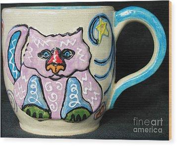 Star Kitty Mug Wood Print by Joyce Jackson