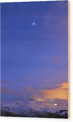 Star Sirius Over National Park Sierra Nevada At Sunset. Constelation Canis Mayor Wood Print by Guido Montanes Castillo