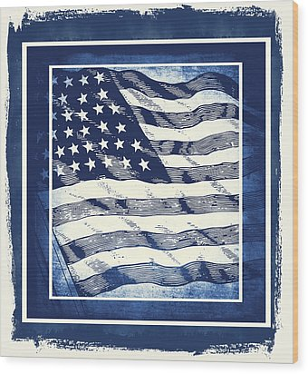 Star Spangled Banner Blue Wood Print by Angelina Vick