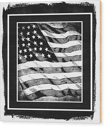 Star Spangled Banner Bw Wood Print by Angelina Vick