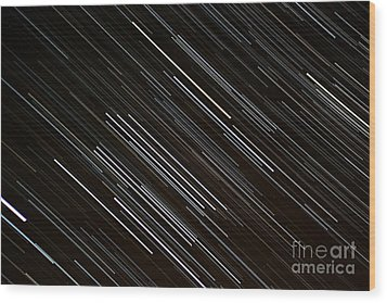 Star Trails At The Equator Wood Print by Stephen Whisman