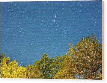 Star Trails On A Blue Sky Wood Print