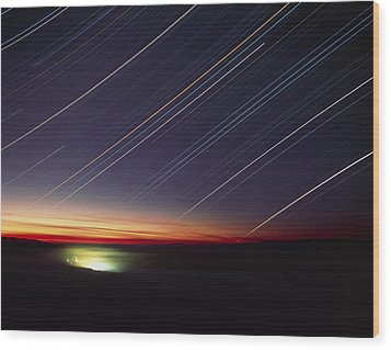 Star Trails Over Queen Charlotte City, Canada Wood Print by David Nunuk