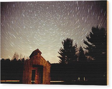 Wood Print featuring the photograph Star Trails Over Sugar Shack by Rick Frost