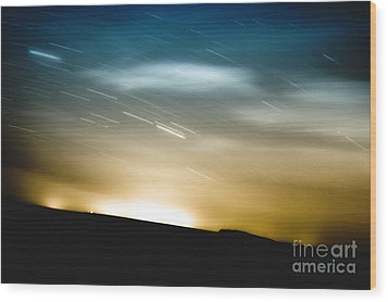 Star Trails Wood Print by Roth Ritter