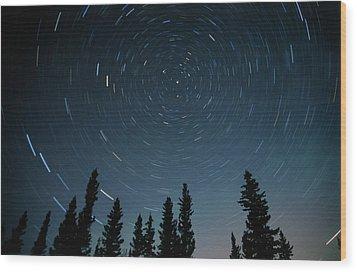 Star Trails, Sandilands Provincial Wood Print by Mike Grandmailson