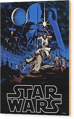 Star Wars Poster Wood Print by George Pedro
