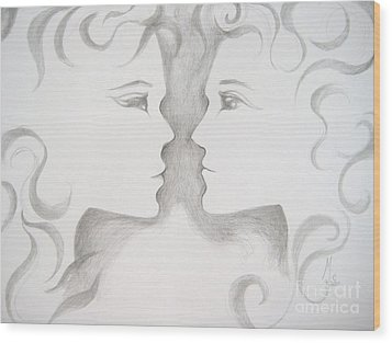 Wood Print featuring the drawing Staredown by Marat Essex