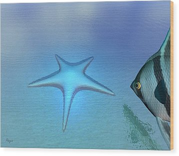 Wood Print featuring the digital art Starfish by John Pangia