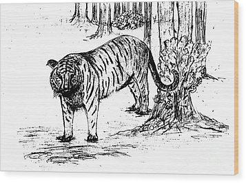 Staring Tiger Wood Print by Mashukur  Rahman