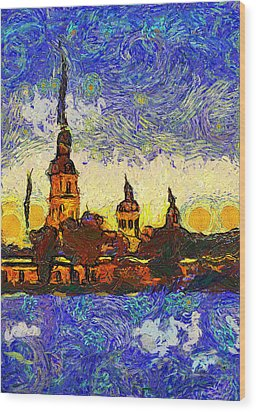 Starred Saint Petersburg Wood Print by Yury Malkov