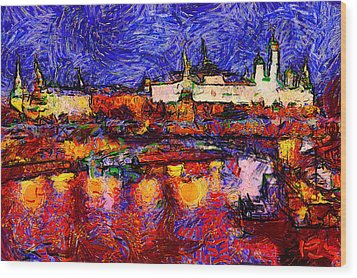Starry Moscow Wood Print by Yury Malkov
